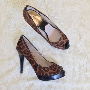 MICHAEL MK animal print, peep toe platform pumps